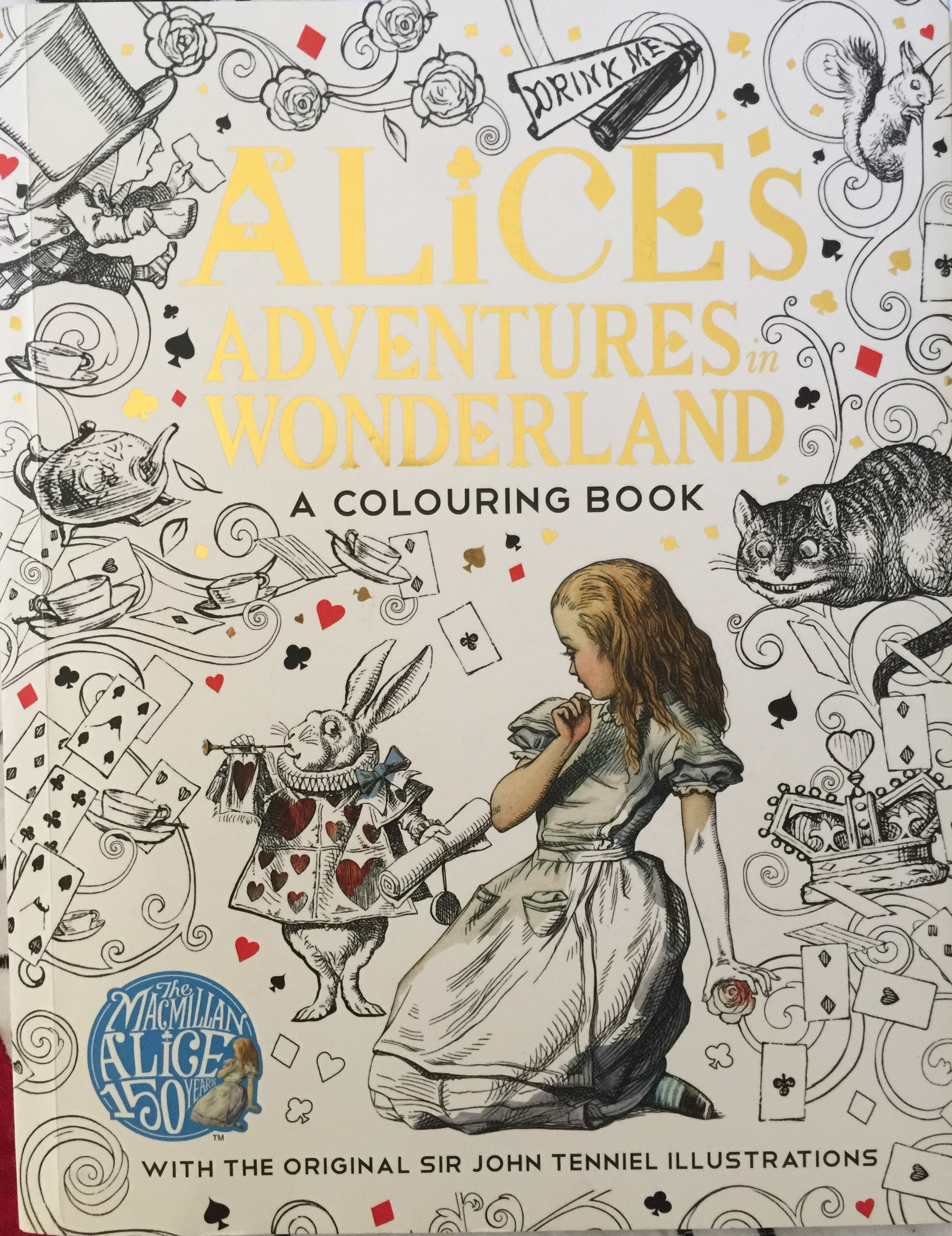 coloring colouring alice in wonderland macmillan stress relief art therapy mindfulness depression adult pens pencils fineliners marker