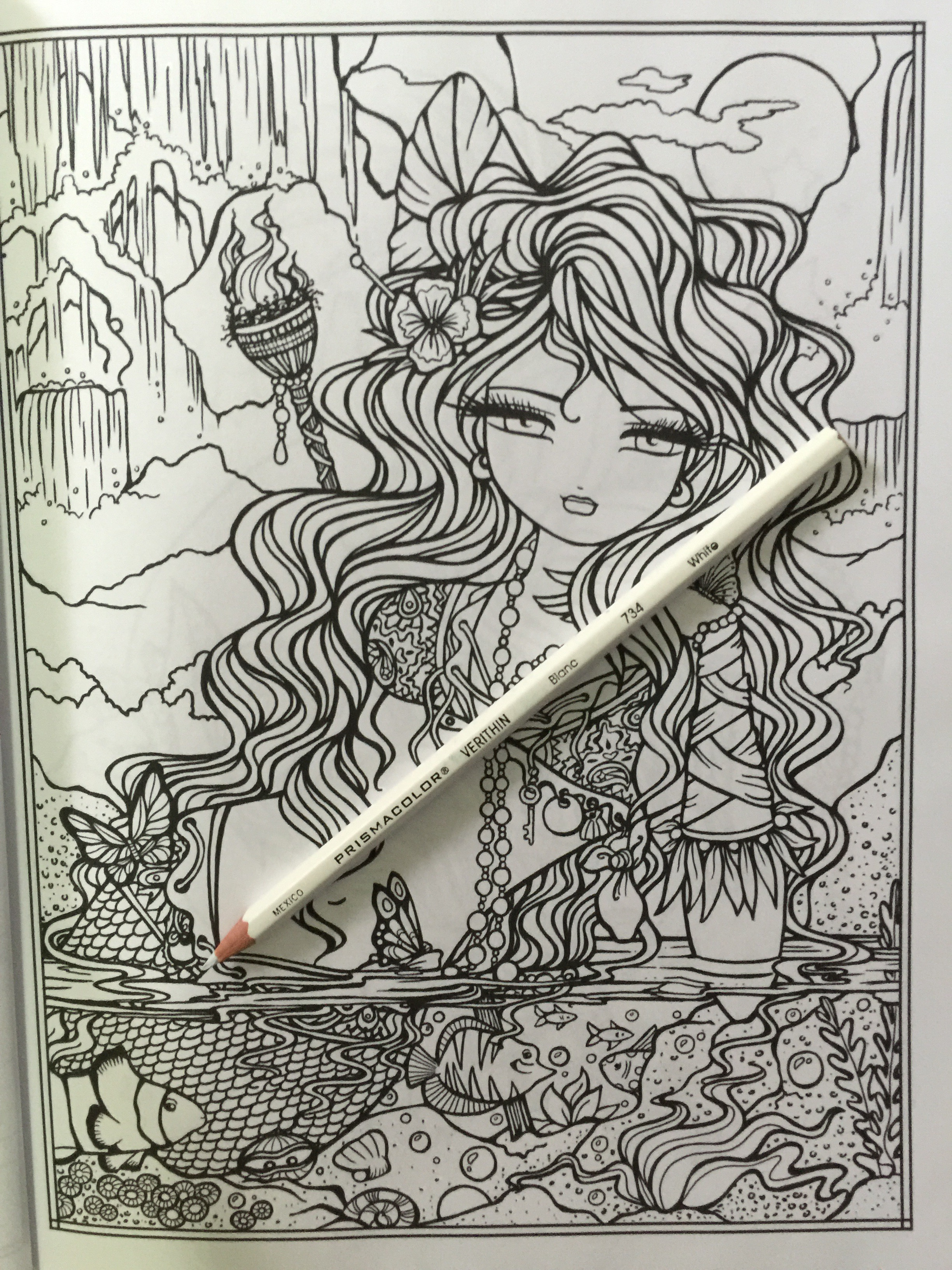 coloring colouring hannah lynn art therapy fantasy fairy mermaid color adult stress relief unicorn dragon pencils