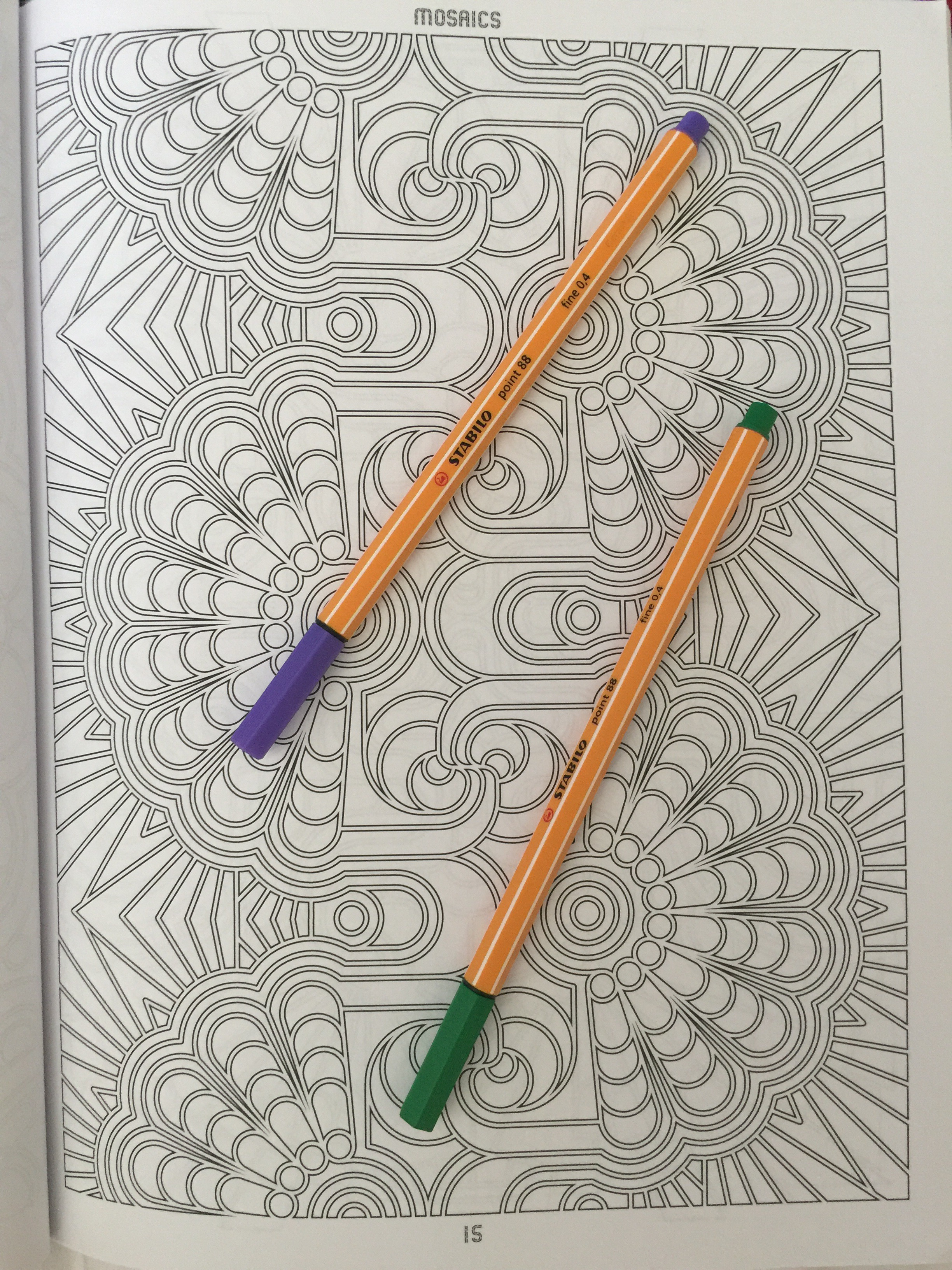 adult colouring coloring art therapy coloured colored colour color stress relief pencil   completed mosaics book review colouring reviews techniques