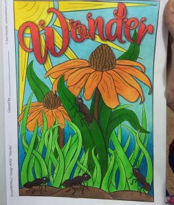 coloring book inspirational words pencils